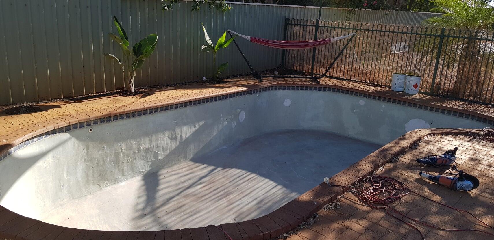 Concrete to fibreglass pool conversion South Hedland (before) – September 2018